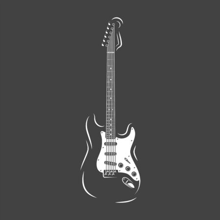 Guitar silhouette isolated on a black background. Design element for music logos, labels, emblems. Vector illustration Imagens - 138462521