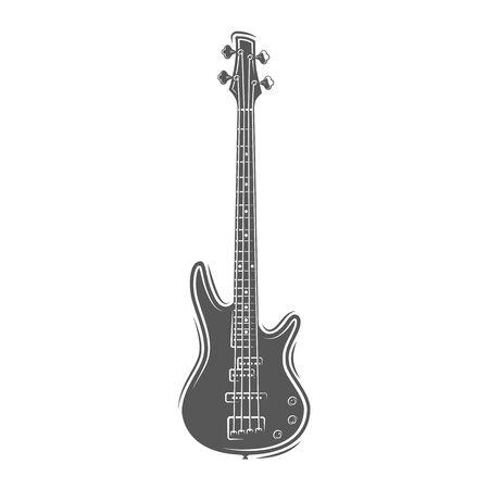 Guitar silhouette isolated on a white background. Design element for music logos, labels, emblems. Vector illustration Ilustração