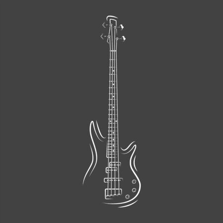 Guitar silhouette isolated on a black background. Design element for music logos, labels, emblems. Vector illustration Imagens - 138462518