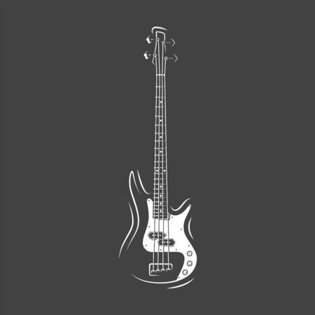 Guitar silhouette isolated on a black background. Design element for music logos, labels, emblems. Vector illustration Imagens - 138462524
