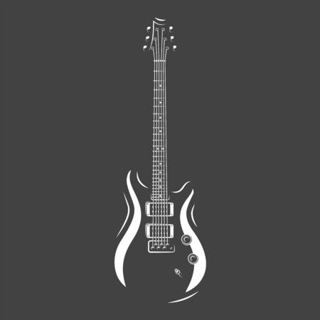 Guitar silhouette isolated on a black background. Design element for music logos, labels, emblems. Vector illustration
