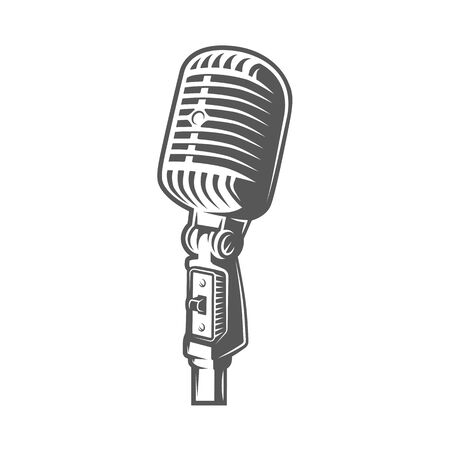 Microphone isolated on a white background. Design element for music logos, labels, emblems. Vector illustration