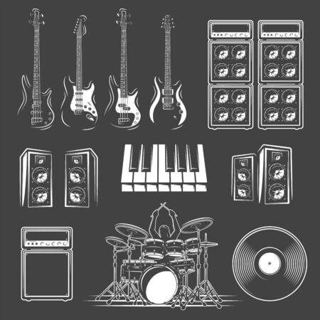 Set of musical instruments isolated on a black background. Design element for music logos, labels, emblems. Vector illustration Imagens - 138462527