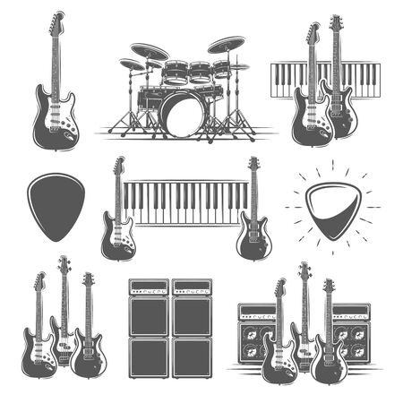 Set of musical instruments isolated on a white background. Design element for music logos, labels, emblems. Vector illustration Imagens - 138462531