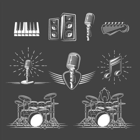 Set of musical instruments isolated on a black background. Design element for music logos, labels, emblems. Vector illustration Ilustração