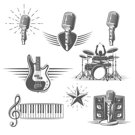 Set of musical instruments isolated on a white background. Design element for music logos, labels, emblems. Vector illustration