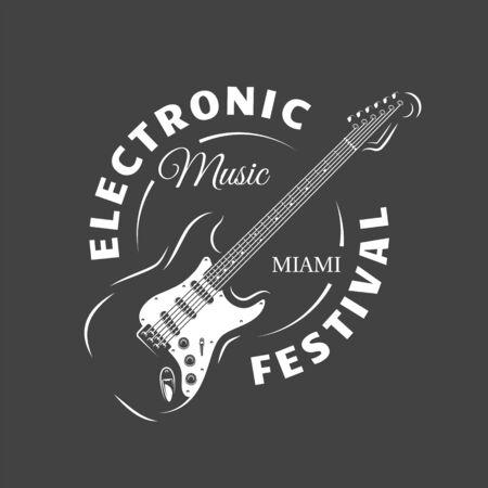 Music label isolated on black background. Guitar silhouette. Design element. Template for logo, signage, branding design. Vector illustration