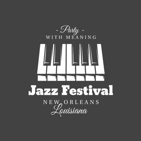 Music label isolated on black background. Piano keyboard silhouette. Design element. Template for logo, signage, branding design. Vector illustration