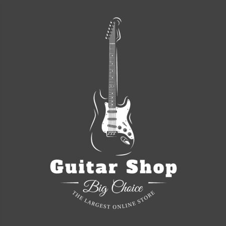 Music label isolated on black background. Guitars silhouette. Design element. Template for logo, signage, branding design. Vector illustration Imagens - 138462563