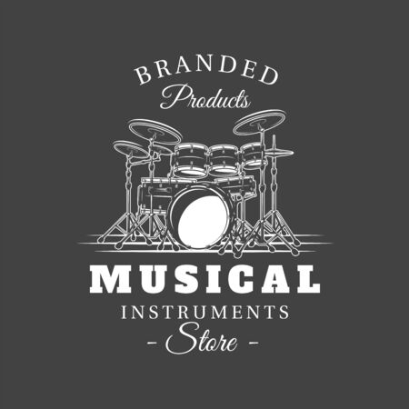 Music label isolated on black background. Drum silhouette. Design element. Template for logo, signage, branding design. Vector illustration