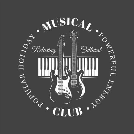 Music label isolated on black background. Silhouette of guitars and piano keyboard. Design element. Template for logo, signage, branding design. Vector illustration