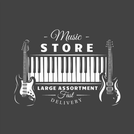 Music label isolated on black background. Silhouette of guitars and piano keyboard. Design element. Template for logo, signage, branding design. Vector illustration Imagens - 138462565