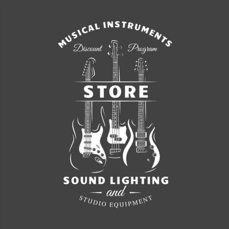 Music label isolated on black background. Guitars silhouette. Design element. Template for logo, signage, branding design. Vector illustration