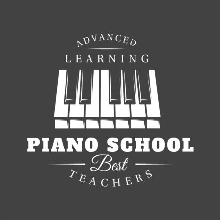 Music label isolated on black background. Piano keyboard silhouette. Design element. Template for logo, signage, branding design. Vector illustration Imagens - 138462590