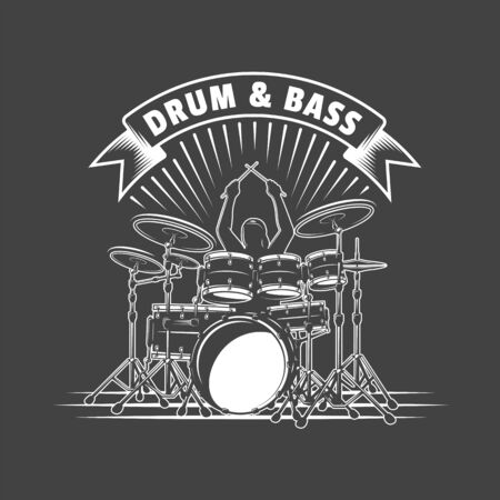 Music label isolated on black background. Drummer plays percussion instruments. Design element. Template for logo, signage, branding design. Vector illustration Imagens - 138462595