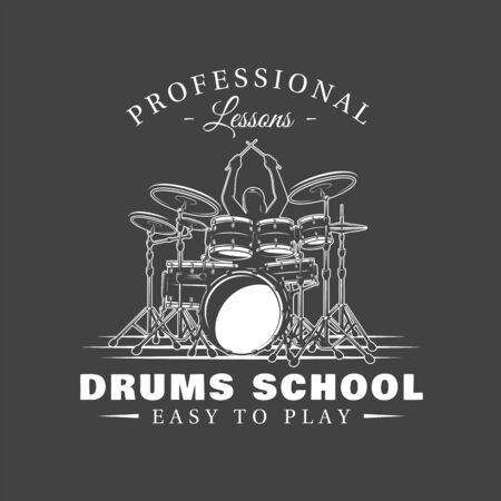 Music label isolated on black background. Drummer plays percussion instruments. Design element. Template for logo, signage, branding design. Vector illustration