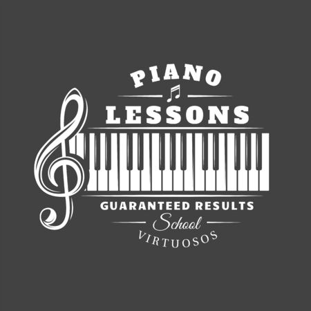 Music label isolated on black background. Silhouette treble clef and piano keyboard. Design element. Template for logo, signage, branding design. Vector illustration