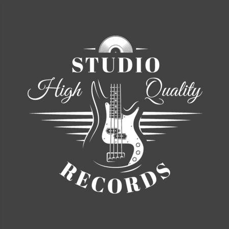 Music label isolated on black background. Guitars silhouette. Design element. Template for logo, signage, branding design. Vector illustration Imagens - 138462601