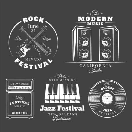 Set of vintage musical labels templates isolated on black background. Elements for music design. Template for logo, signage, branding design. Vector illustration