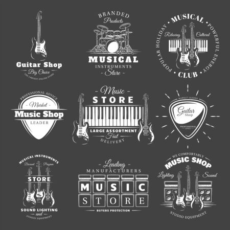 Set of vintage musical labels templates isolated on black background. Elements for music design. Template for logo, signage, branding design. Vector illustration Foto de archivo - 138462614