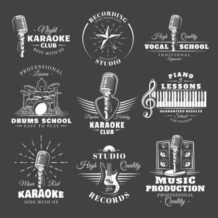 Set of vintage musical labels templates isolated on black background. Elements for music design. Template for logo, signage, branding design. Vector illustration Imagens - 138462616