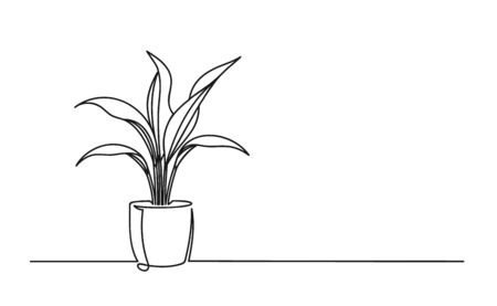 Continuous one line drawing of a flower in a pot. Beautiful flower Isolated on a white background. Vector illustration Stock Illustratie
