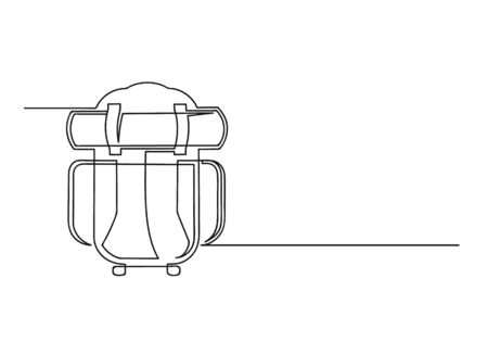 Continuous one line drawing of a backpack. Hiking backpack isolated on a white background. Travel concept. Vector illustration Illusztráció