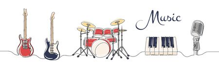 Set of continuous one line drawing of a musical instruments. Drums, guitars, piano and microphone isolated on white background. Music concept. Vector illustration
