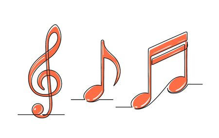 Set of continuous one line drawing of a musical notes. Treble clef and notes isolated on white background. Music concept. Vector illustration