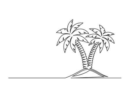 Continuous one line drawing of palm trees. Travel concept. Palm trees isolated on a white background. Vector illustration
