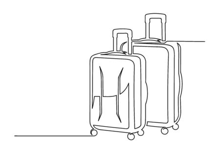 Continuous one line drawing of an suitcases.Travel concept. Two suitcases isolated on a white background. Vector illustration Stock Illustratie