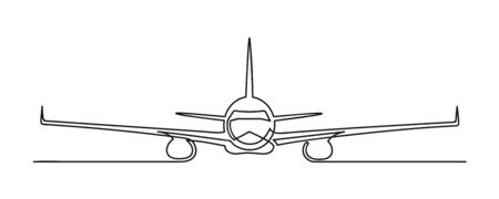 Continuous drawing of one line of an airplane. Travel concept. Flying airplane isolated on a white background. Vector illustration