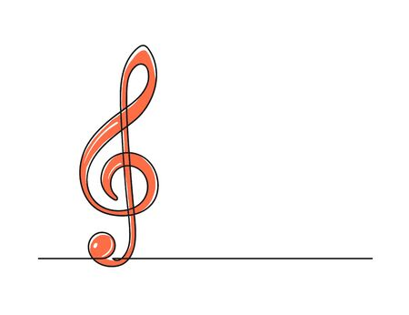 Continuous one line drawing of a treble clef. Music symbol isolated on a white background. Music concept. Vector illustration