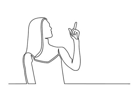 Continuous one line drawing of a woman. Beautiful woman points a finger up isolated on a white background. Business concept. Vector illustration