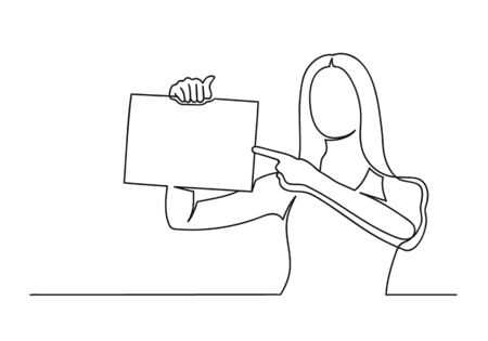 Continuous one line drawing of a woman. Business concept. Woman holding a paper and shows her finger isolated on a white background. Vector illustration Stock Illustratie