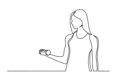Continuous one line drawing of a woman. Sport concept. Woman holding a dumbbell isolated on a white background. Engaged in fitness. Vector illustration