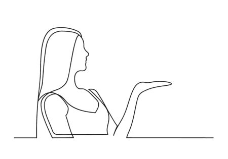 Continuous one line drawing of a woman. Business concept. Beautiful woman holds palm up isolated on a white background. Vector illustration