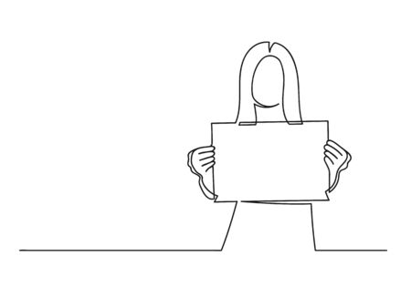 Continuous one line drawing of a woman. Business concept. Woman holding a blank paper isolated on a white background. Vector illustration Stock Illustratie
