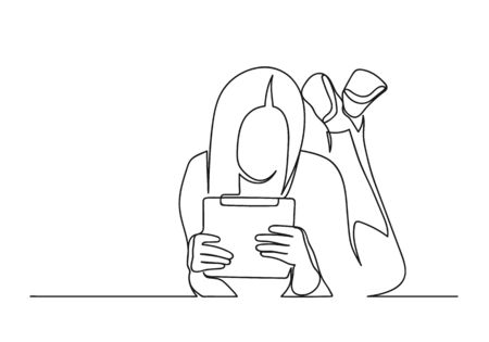 Continuous one line drawing of a woman. Business concept. Young woman lies and holds a tablet isolated on a white background. Vector illustration