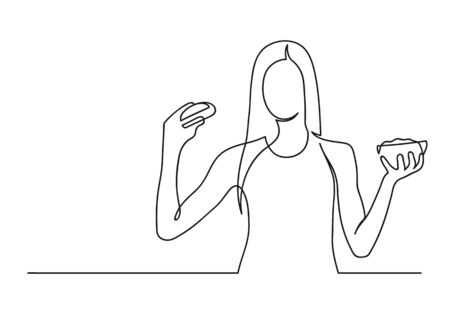 Continuous one line drawing of a woman. Healthy concept. Young woman holding a burger and salad isolated on a white background. Vector illustration Stock Illustratie