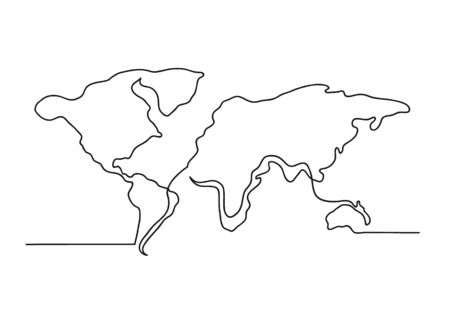 Continuous one line drawing of a world map. Business concept. Earth planet silhouette isolated on white background. Vector illustration Stock Illustratie