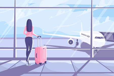 Young woman with a suitcase is standing in the airport terminal. Flat style. Beautiful girl looks out the window at the plane. Vector illustration