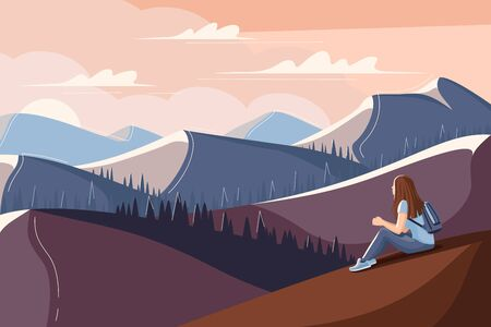 Young woman is sitting on the grass and watching the sunset. Flat style summer landscape. Concept image of man and nature. Vector illustration