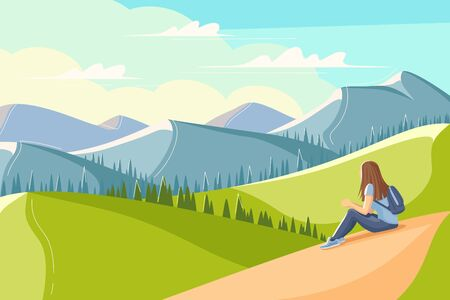 Young woman sits on the grass and looks at the mountains. Flat style summer landscape. Concept image of man and nature. Vector illustration