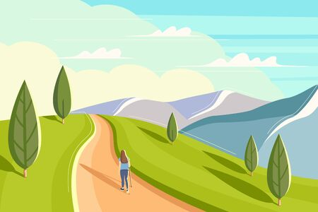 Beautiful woman is walking along a mountain ridge. Flat style summer landscape. Concept image of man and nature. Vector illustration