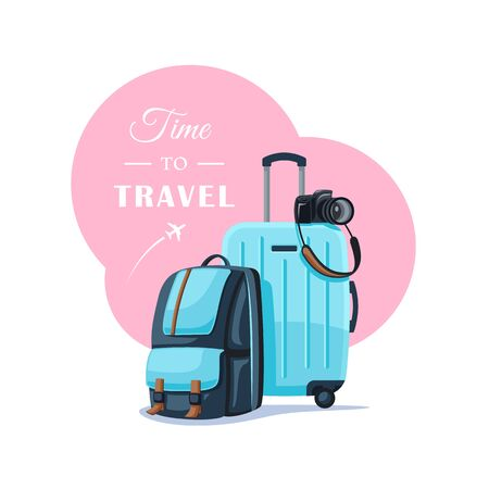 Backpack and suitcase isolated on white background. Things for a happy trip. Flat style. Vector illustration.