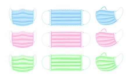 Set of medical masks isolated on white background. Corona protection. Vector illustration. Ilustração
