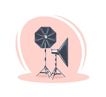 Photo studio scene isolated on white background. Flat style. Photo studio concept. Vector illustration