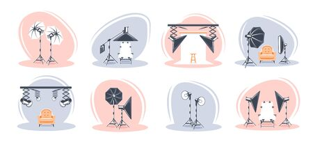 Set of the photo studio scenes isolated on white background. Flat style. Photo studio concept. Vector illustration