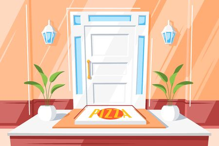 Pizza on the doorstep of the house. Cartoon delivery of pizza at home vector concept. Food delivery illustration. Quarantine Food Order Concept Stock Illustratie